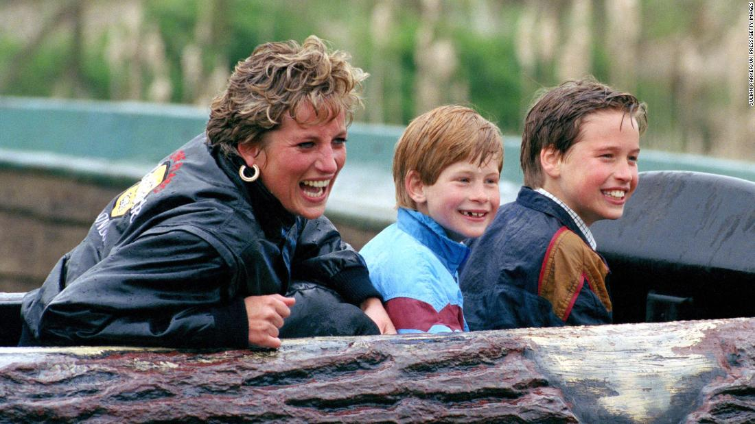 Princess Diana and her sons visit Thorpe Park, a theme park in Surrey, England, in 1993.