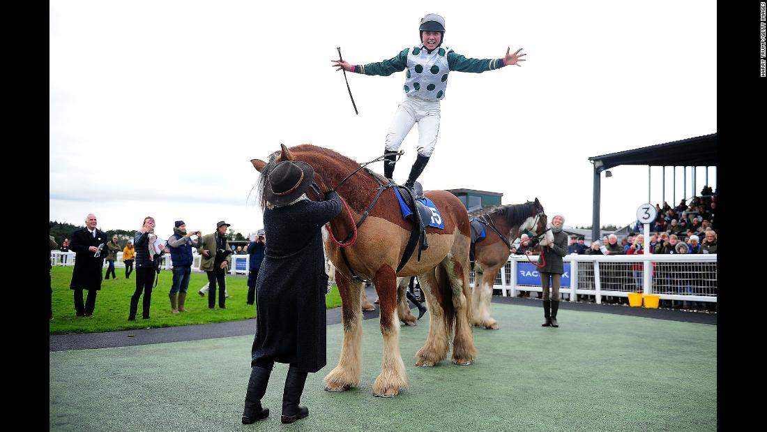 Bryony Frost celebrates atop Stobillee Sirocco after winning the Clydesdale Stakes in Exeter, England, on Sunday, November 26.