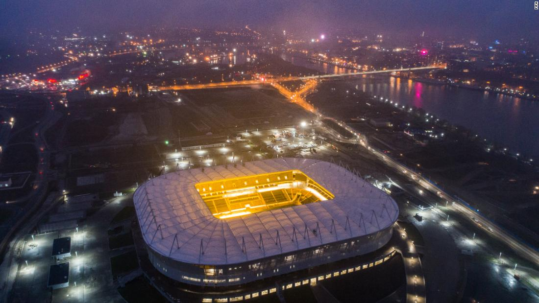 Located about 20 miles from the Sea of Azov in south eastern Russia where summer temperatures typically exceed 68 F (20 C), the brand new Rostov Arena is 51m tall -- as high as the Niagra Falls.
