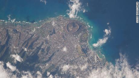 "This picture of Hawaii was tweeted out by NASA astronaut Scott Kelly on the International Space Station with this comment: ""Just flew over you"