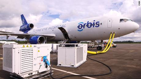 The Orbis plane, fully fitted with hospital equipment.