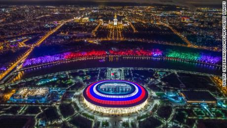 TOPSHOT - This aerial view taken with a drone shows Luzhniki Stadium (C) and the Moskva River in Moscow on November 4, 2017.  / AFP PHOTO / DMITRY SEREBRYAKOV        (Photo credit should read DMITRY SEREBRYAKOV/AFP/Getty Images)