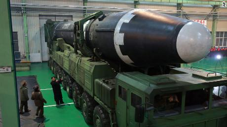 North Korean leader Kim Jong Un inspects the Hwasong-15 before its launch Wedneday.