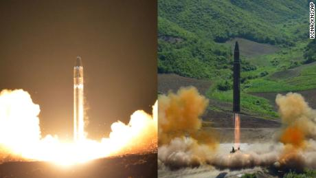 North Korea's most advanced intercontinental ballistic missiles (ICBMs), the Hwasong-15 (left) and Hwasong-14.