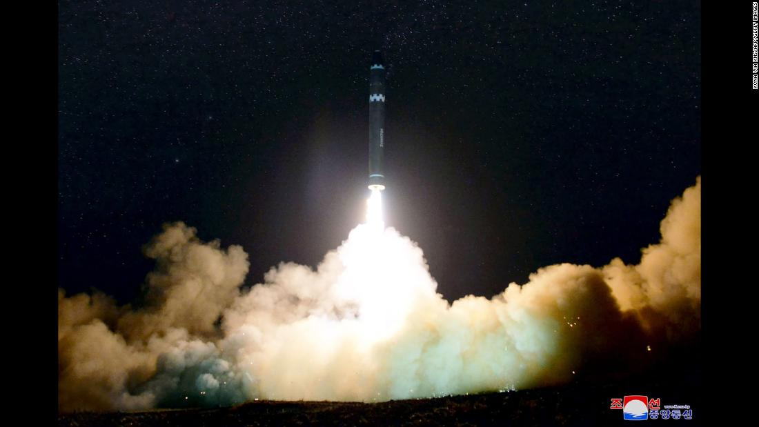 "This photo, released by North Korea's state-run news agency, shows what <a href=""http://www.cnn.com/2017/11/28/politics/north-korea-missile-launch/index.html"" target=""_blank"">North Korea says is a successful test launch</a> of the Hwasong-15 missile on Wednesday, November 29. North Korea claims the Hwasong-15 is a new type of intercontinental ballistic missile, topped with a ""super-large heavy warhead"" that is capable of striking the US mainland. US Defense Secretary James Mattis said the missile demonstrated North Korea had the ability to hit ""everywhere in the world."" The Hwasong-15 soared 4,475 kilometers (2,800 miles) in the sky, spending 53 minutes in the air, before splashing down in waters off the coast of Japan, North Korea said."