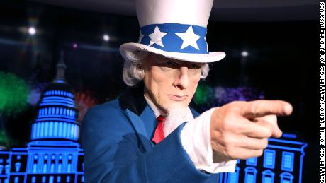 "WASHINGTON, DC - JULY 18:  A wax replica of Uncle Sam centers the ""Madame Tussauds Wants You!"" exhibit where Independence Day is celebrated every day with a brand new interactive experience at Madame Tussauds on July 18, 2016 in Washington, DC.  (Photo by Paul Morigi/Getty Images for Madame Tussauds)"