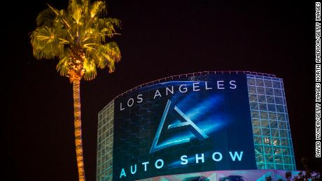 LOS ANGELES, CA - NOVEMBER 17: A banner hangs for the public opening of the LA Auto Show at the end of the four-day auto trade show AutoMobility LA at the Los Angeles Convention Center on November 17, 2016 in Los Angeles, California. AutoMobility LA precedes the ten-day LA Auto Show, open to the public November 18 through 27.  (Photo by David McNew/Getty Images)