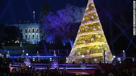 President Donald Trump and the first lady Melania Trump attend the 95th annual National Christmas Tree Lighting held by the National Park Service at the White House Ellipse in Washington, D.C., November 30, 2017.