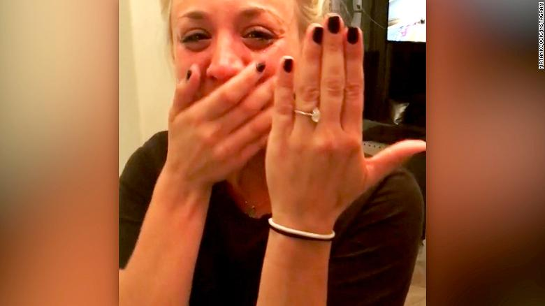 See Kaley Cuoco's tearful engagement video