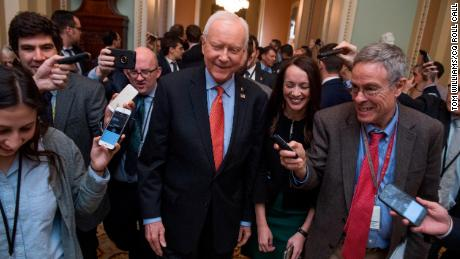 UNITED STATES - DECEMBER 01: Sen. Orrin Hatch, R-Utah, talks with reporters before Senate Majority Leader Mitch McConnell, R-Ky., announced that Republicans have enough votes to pass the tax reform bill on December 1, 2017. (Photo By Tom Williams/CQ Roll Call)