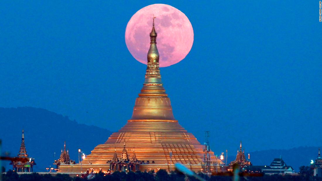 The moon rises behind the Uppatasanti Pagoda seen in Naypyitaw, Myanmar, on Sunday, Dec. 3, 2017. It was the only supermoon of the year and the first of three consecutive supermoons. The next two will occur on Jan. 1 and Jan. 31.