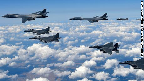 US Air Force B-1B Lancer bombers flying with F-35B fighter jets and South Korean Air Force F-15K fighter jets during training over South Korea in 2017.
