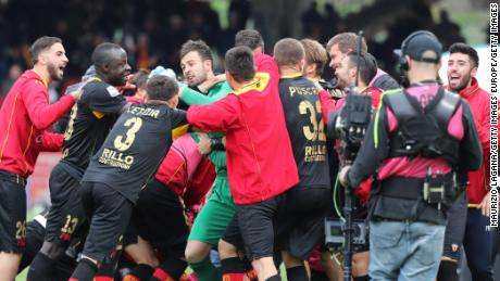 Brognoli and his Benevento teammates celebrate after ending a 14-match losing streak