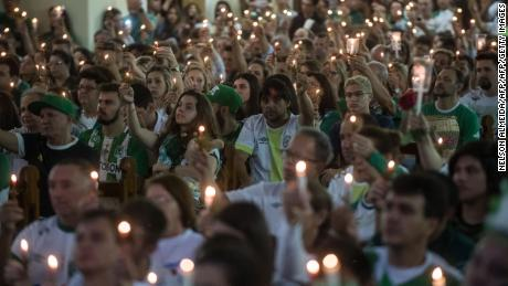 Crowds gather at a ceremony in honor of the victims and survivors of the plane crash that devastated Chapecoense's football club last year.