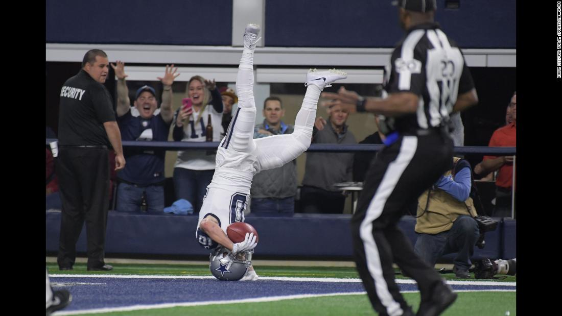 Dallas' Ryan Switzer dives into the end zone after returning a punt 83 yards for a touchdown on Thursday, November 30. Dallas crushed Washington 38-14.