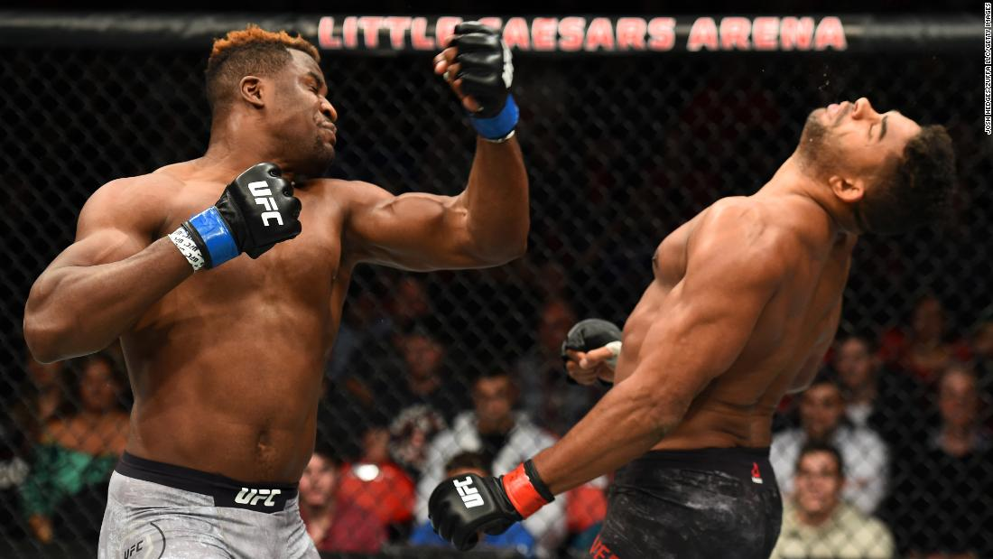 Francis Ngannou knocks out Alistair Overeem during their UFC fight in Detroit on Saturday, December 2. The fight was stopped at the 1:42 mark of round one.