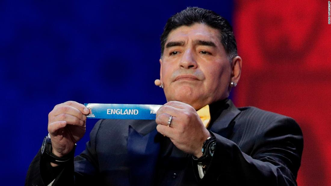"Argentine soccer legend Diego Maradona holds up England's name during <a href=""http://www.cnn.com/2017/12/01/football/world-cup-draw-russia-football-putin/index.html"" target=""_blank"">the World Cup draw</a> in Moscow on Friday, December 1. Maradona, of course, scored two of his most famous goals against the English, knocking them out of the 1986 World Cup."
