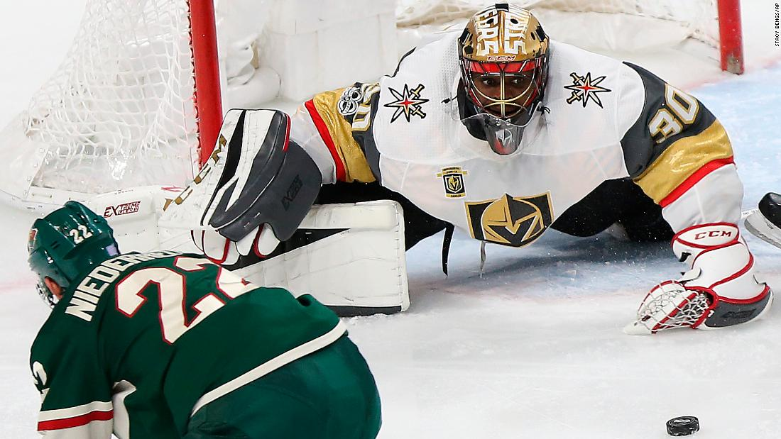 Vegas goalie Malcolm Subban eyes the puck during an NHL game in St. Paul, Minnesota, on Thursday, November 30.
