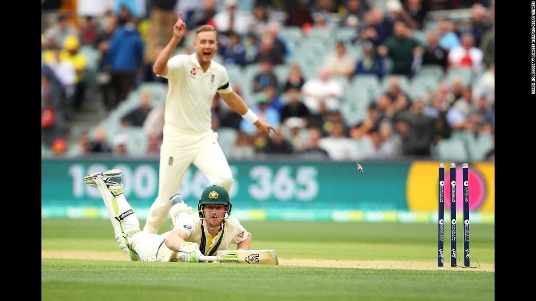Australia's Cameron Bancroft dives for the crease as he is run out by England's Chris Woakes during the second Test match of the Ashes series on Saturday, December 2.