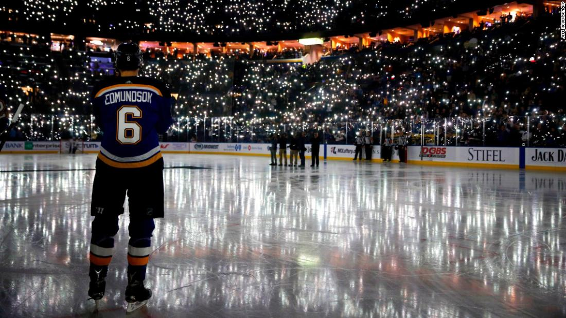 Hockey fans in St. Louis use their cell phones to light up the Scottrade Center before an NHL game on Friday, December 1. The pregame ceremony was paying tribute to Ari Dougan, an 11-year-old who recently lost her battle with cancer.