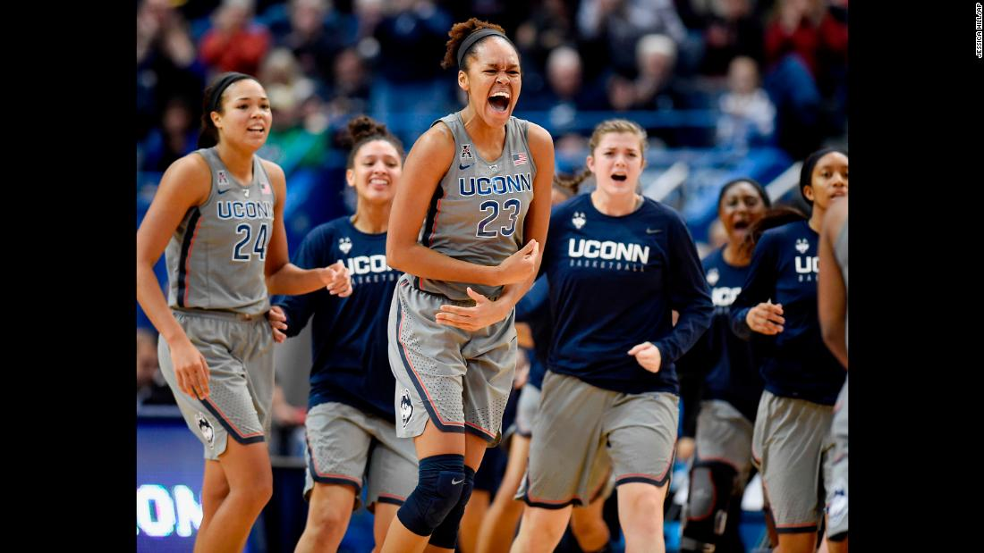 Connecticut's Azura Stevens, center, reacts during the Huskies' 80-71 victory over Notre Dame on Sunday, December 3. Both the teams came into the game undefeated.