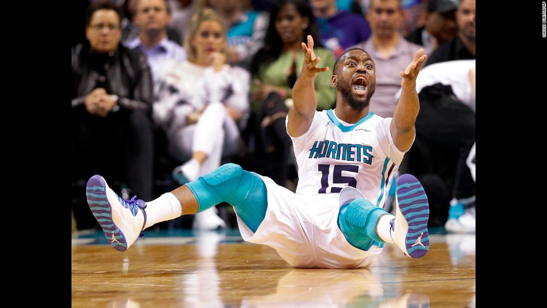 Charlotte's Kemba Walker argues for a foul during an NBA game against Orlando on Monday, December 4.