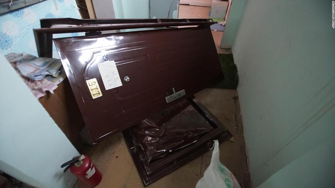 Doors to evicted apartments are left off their hinges to make the homes unlivable.