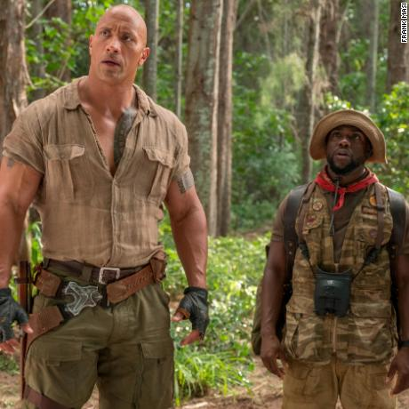 Karen Gillan, Dwayne Johnson, Kevin Hart in 'Jumanji: Welcome to the Jungle'