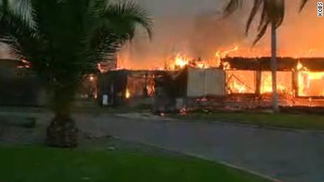 Fire burns the Vista del Mar Hospital in Ventura on Tuesday morning.
