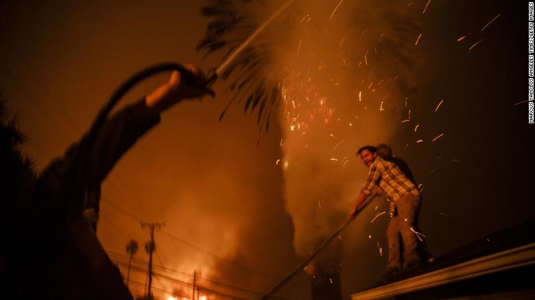 Strangers band together to help put out a palm tree on fire and stop it from burning homes.