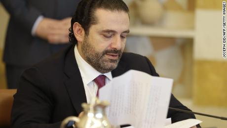 Hariri attends a cabinet meeting at the presidential palace on Tuesday.