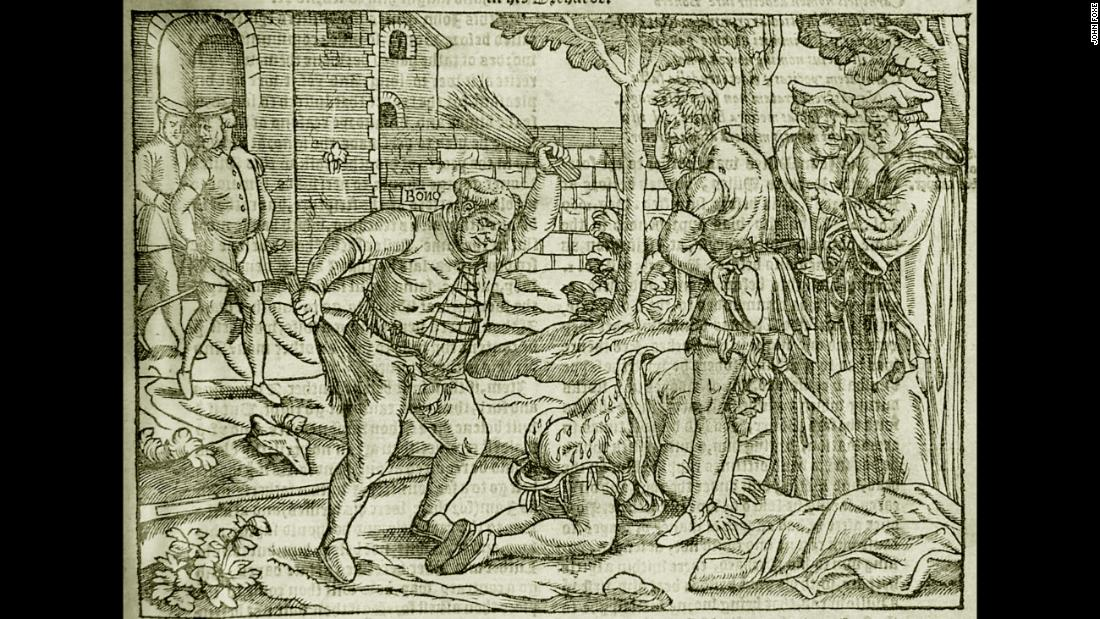 "A whipping or ""cobbing"" was also historically used as a punishment for adults. This etching shows Bishop of London Edmund Bonner punishing a heretic in ""Foxe's Book of Martyrs"" from 1563. <a href=""https://www.britannica.com/biography/Edmund-Bonner"" target=""_blank"">According to the Encyclopedia Britannica,</a> Bonner was characterized as a monster who enjoyed burning Protestants at the stake during the reign of the Roman Catholic Queen Mary I, who was known as ""Bloody Mary."""