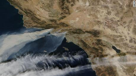 A NASA image from space shows the Southern California wildfires.