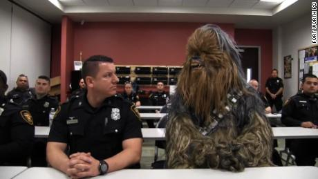 NS Slug: STAR WARS CHEWBACCA JOINS FT WORTH PD (CUTE)  Synopsis: Fort Worth Police welcome video features Chewbacca going through tasks of a police officer  Keywords: FORT WORTH TEXAS
