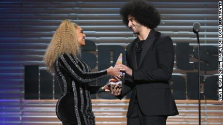 NEW YORK, NY - DECEMBER 05:  Colin Kaepernick receives the SI Muhammad Ali Legacy Award with Beyonce and Trevor Noah during SPORTS ILLUSTRATED 2017 Sportsperson of the Year Show on December 5, 2017 at Barclays Center in New York City.  (Photo by Slaven Vlasic/Getty Images for Sports Illustrated)