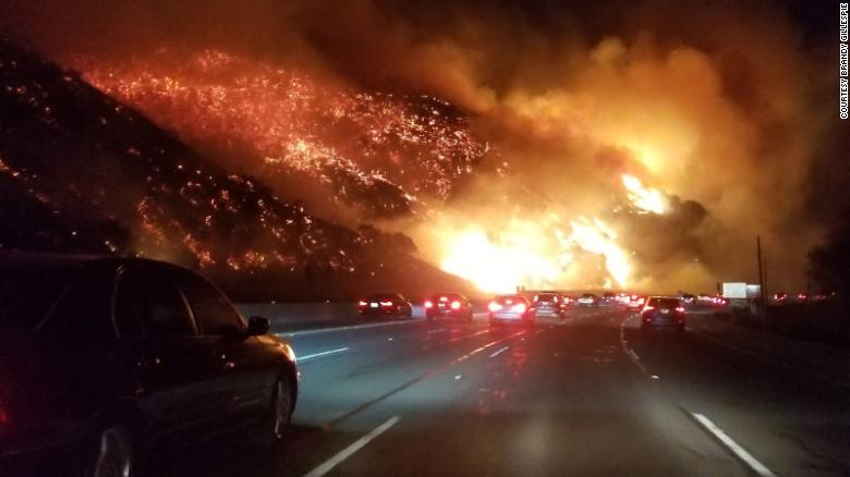 Brandy Gillespie took this photo driving on I-405 early Wednesday near the Getty Center in Los Angeles.