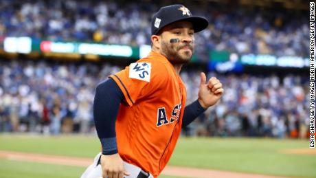LOS ANGELES, CA - NOVEMBER 01:  Jose Altuve #27 of the Houston Astros runs outside the dugout before game seven of the 2017 World Series against the Los Angeles Dodgers at Dodger Stadium on November 1, 2017 in Los Angeles, California.  (Photo by Ezra Shaw/Getty Images)