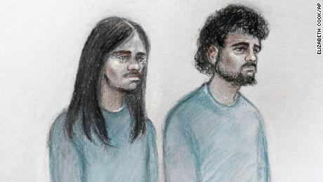 This court artist sketch shows Mohammed Aqib Imran, left, and  Naa'imur Zakariyah Rahman in the dock at Westminster Magistrates' Court in London on Wednesday.