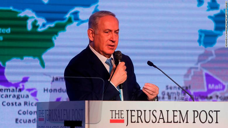 Israeli Prime Minister Benjamin Netanyahu delivers a speech Wednesday at a diplomatic conference held by the Jerusalem Post newspaper in Jerusalem.