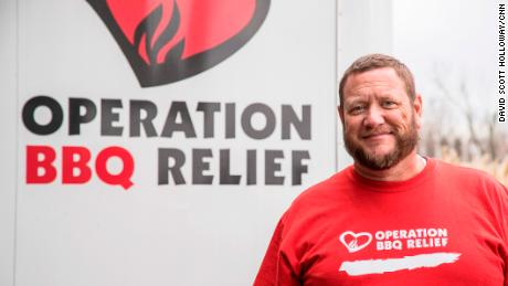 CNN 2017 Top Ten Hero Stan Hays, the co-founder of Operation BBQ Relief works with his colleagues in Kansas City, Kansas on November 17, 2017.
