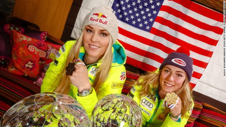 MERIBEL, FRANCE - MARCH 22: (FRANCE OUT)  American World Championship medallists and World Cup globe winners Mikaela Shiffrin and Lindsey Vonn pose for a photo shoot during the Audi FIS Alpine Ski World Cup Finals on March 22, 2015 in Meribel, France. (Photo by Alexis Boichard/Agence Zoom/Getty Images)