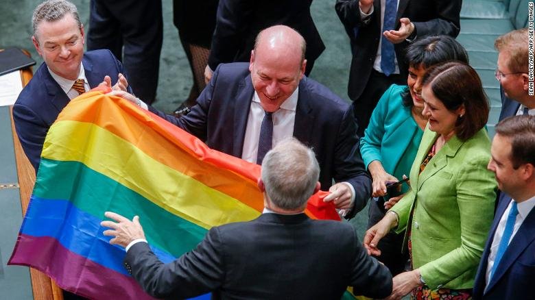 Singing in parliament after same-sex vote