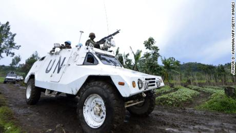 A UN mission in DR Congo (MONUSCO) armored personnel carrier patrols on November 5, 2013 on Chanzu hill, 80 kilometres north of regional capital Goma, in the eastern North Kivu region.