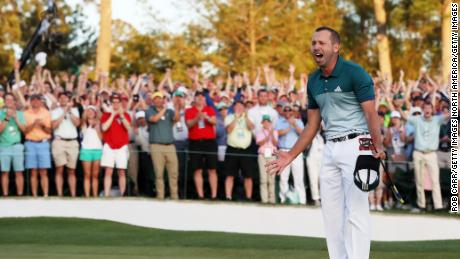 AUGUSTA, GA - APRIL 09:  Sergio Garcia of Spain celebrates after defeating Justin Rose (not pictured) of England on the first playoff hole during the final round of the 2017 Masters Tournament at Augusta National Golf Club on April 9, 2017 in Augusta, Georgia.  (Photo by Rob Carr/Getty Images)