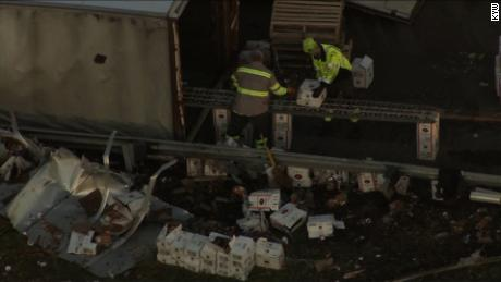BUCKS COUNTY, Pa. (CBS) -- One person has been transported to the hospital after a tractor-trailer overturned in Bucks County, Thursday morning.