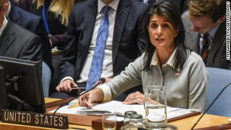 NEW YORK, NY - DECEMBER 08: U.S. Ambassador to the United Nations Nikki Haley delivers a speech during a United Nations Security Council meeting on the situation in Palestine at the United Nations headquarters on December 8, 2017 in New York City. Deadly clashes broke out in Jerusalem and the West Bank after US President Donald Trump's decision to recognize Jerusalem as the capital of Israel. (Stephanie Keith/Getty Images)