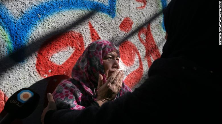 A relative of Mohammad Masry, who was killed Friday in clashes with Israeli troops, mourns during his funeral in Khan Younis, in the southern Gaza Strip, on Saturday.