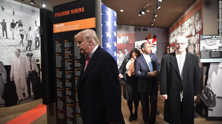 President Donald Trump visits the Civil Rights Museum in Jackson, Mississippi, December 9, 2017.