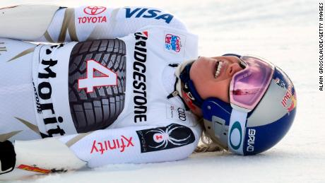 ST MORITZ, SWITZERLAND - DECEMBER 09: Lindsey Vonn of USA reacts during the Audi FIS Alpine Ski World Cup Women's Super G on December 9, 2017 in St Moritz, Switzerland. (Photo by Alain Grosclaude/Agence Zoom/Getty Images)