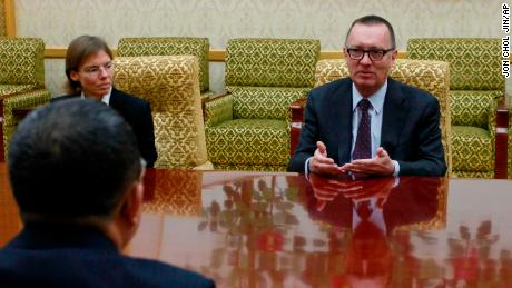 U.N. undersecretary-general for political affairs Jeffrey Feltman, center, meets with North Korean Foreign Minister Ri Yong Ho at the Mansudae Assembly Hall in Pyongyang, North Korea Thursday, Dec. 7, 2017. The senior United Nations official is on a four-day visit to the country at the invitation of the North Korean government. (AP Photo/Jon Chol Jin)